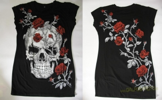 Dámská tunika ER Skull and Rose Black