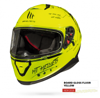 Moto helma MT THUNDER 3 SV BOARD GLOSS FLUOR YELLOW